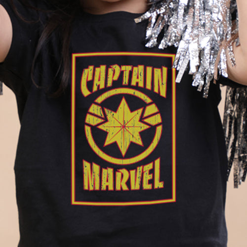 Captain Marvel Yellow And Black, Girl Kids Tee