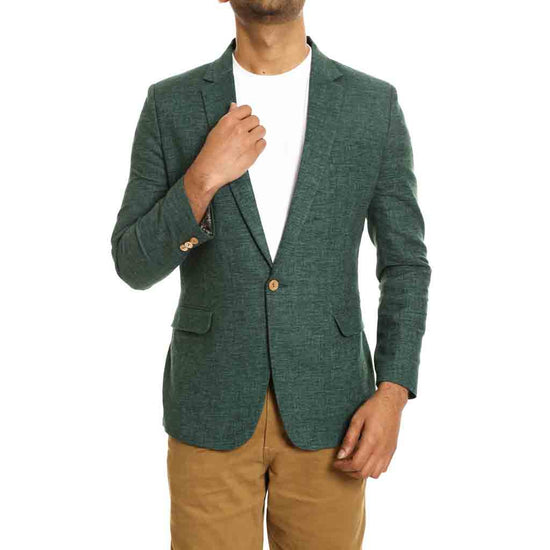 Green single button regular fit blazer for Father-Son