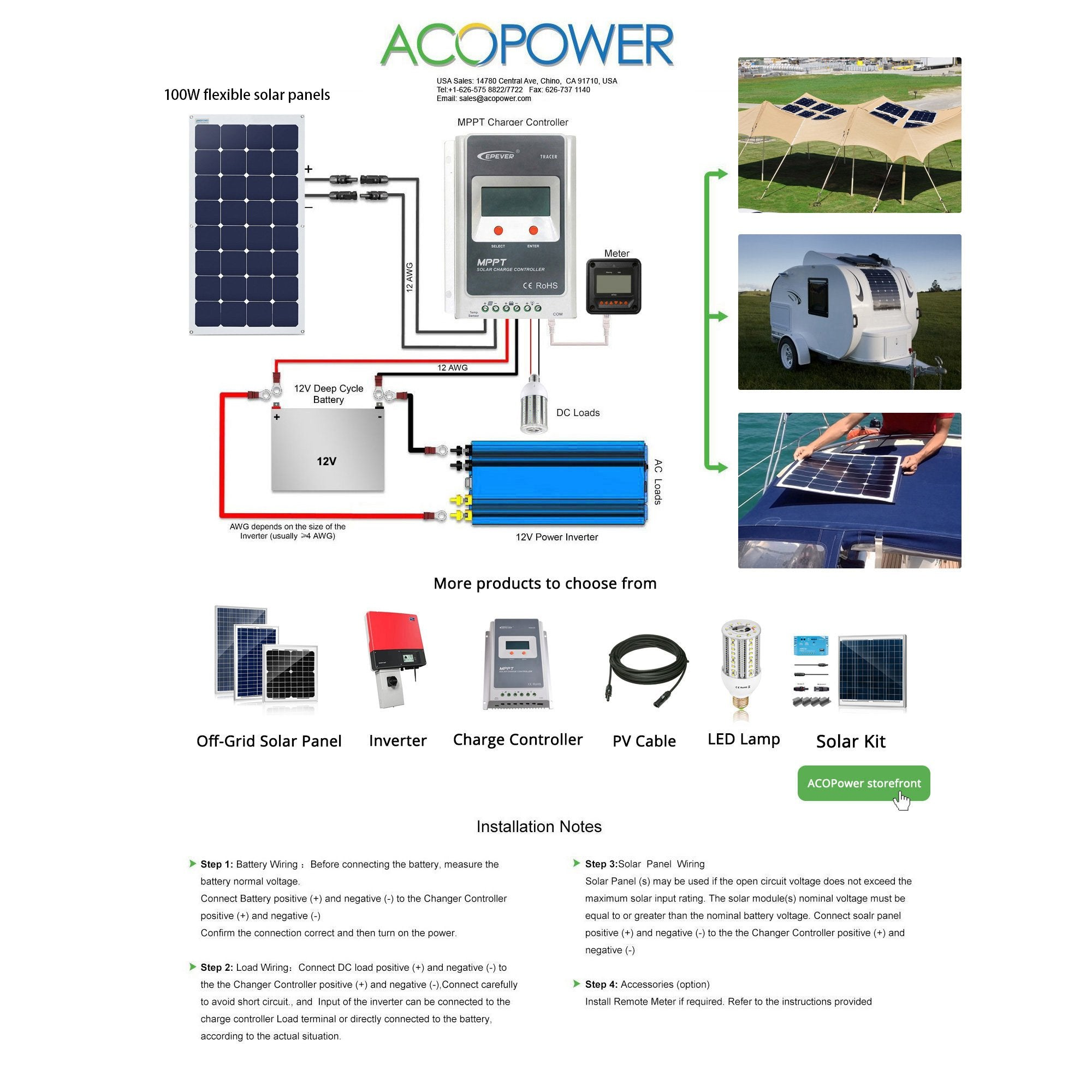 ACOPOWER 110W Flexible Solar Panel - acopower