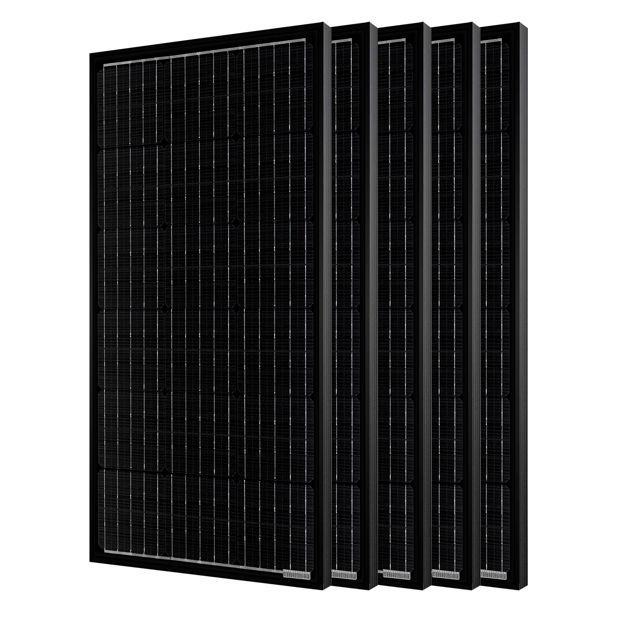 500W 12 Volt All Black Monocrystalline Solar Panel (5 Pack, 5x100W)