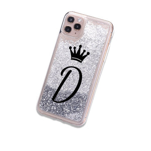 Custom Letter Sparkle Glitter Phone Case for iPhone