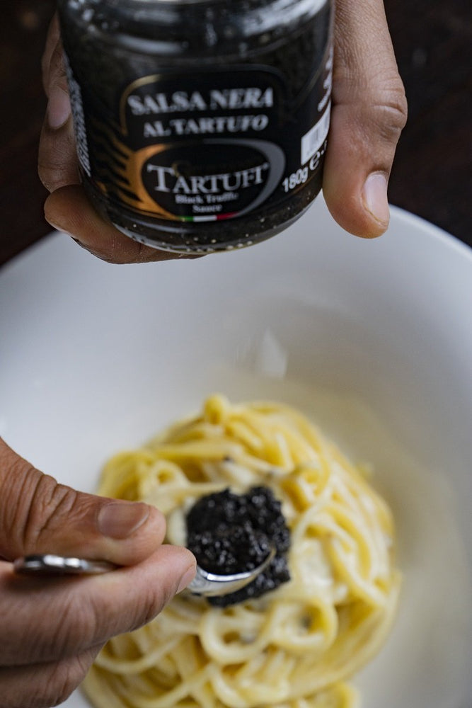 black truffle sauce on pasta