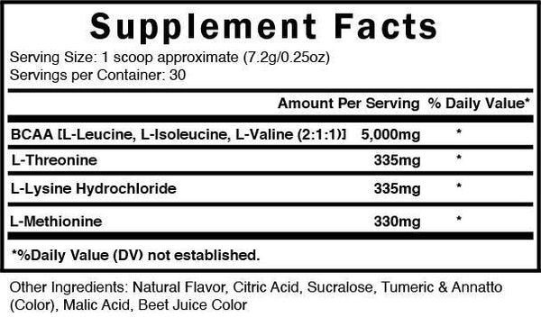 bcaa citrus supplement facts