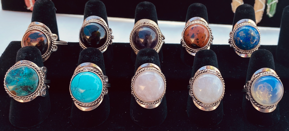 Crystal Stone Adjustable Rings