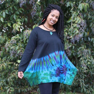 Long Sleeve Cotton Top w/Tie Dye Turquoises
