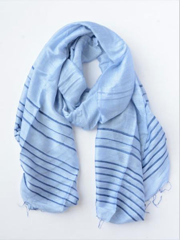 Anh Striped Scarf-Periwinkle
