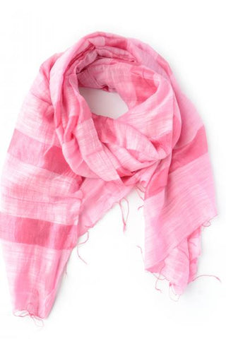 Mai Bold Striped Scarf - Berry Pink