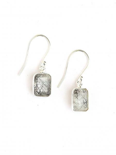 Stone Window Sterling Earrings - Black Rutile