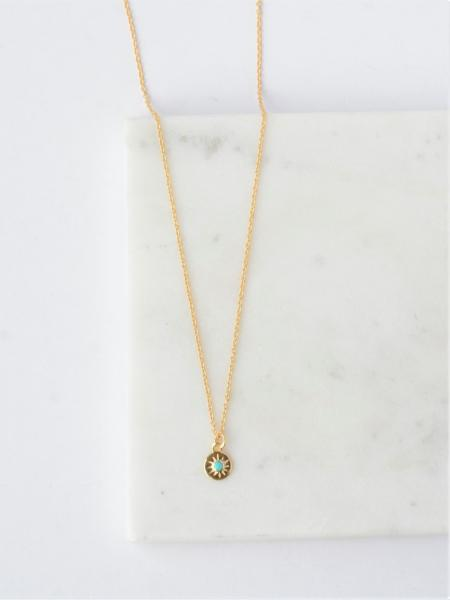 Turquoise Starburst Necklace-14k Gold