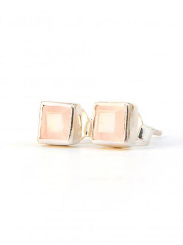 Crystal Waters Sterling Studs-Rose Quartz