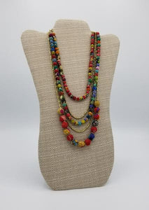Five-Strand Sari Bead Necklace
