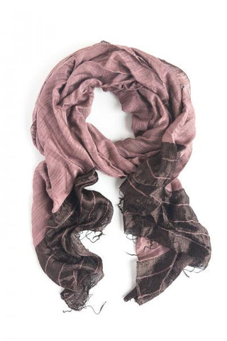 Silk Dipped Handwoven Scarf - Eggplant