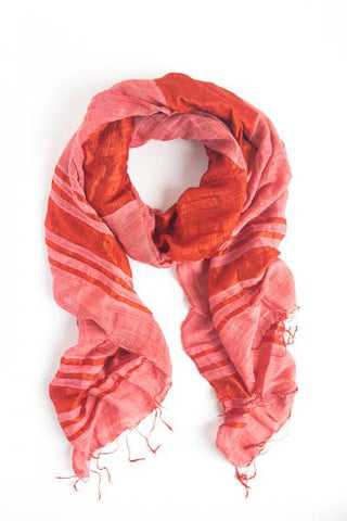 Silky Stripes Handwoven Scarf - Tomato Red