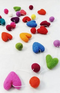 felted heart garland - multi