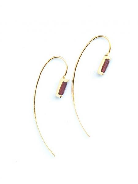 Prism Gold Earrings - Garnet