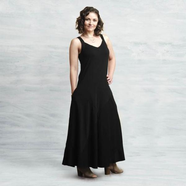 Organic Cotton Two-Way Maxi Dress-Black-Front