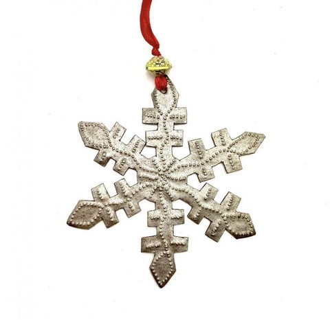 Red Ribbon Metal Snowflake Ornament