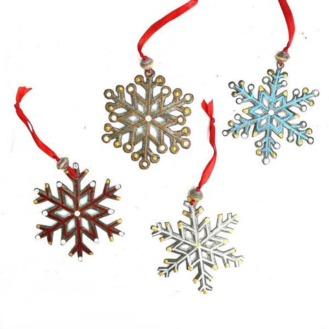 Painted Metal Snowflake Ornament