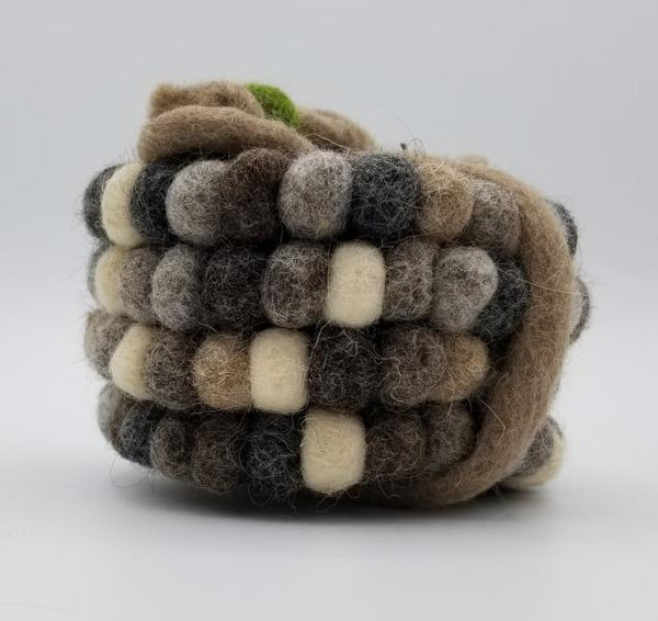 Felted Ball Coaster - set of 4 natural