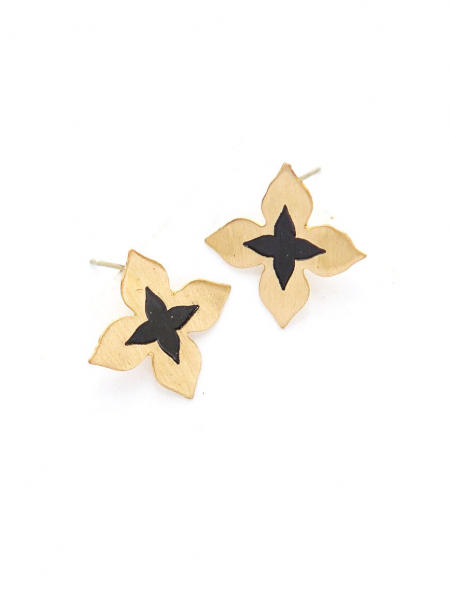Wildflower Stud Earrings - Brass