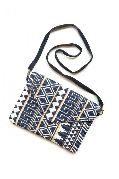 Navy Patterned Envelope Crossbody Purse