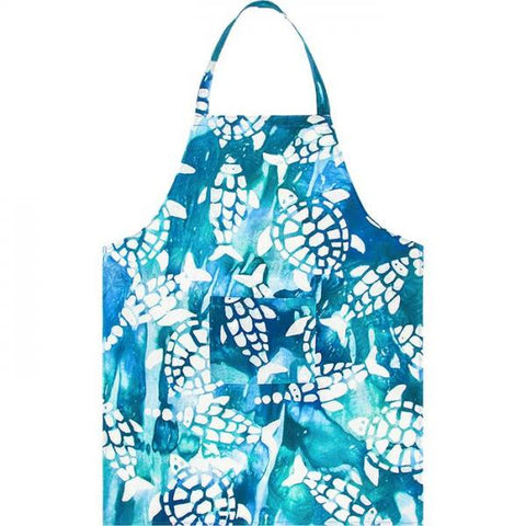Apron Reversible Fishy Turtles Teal