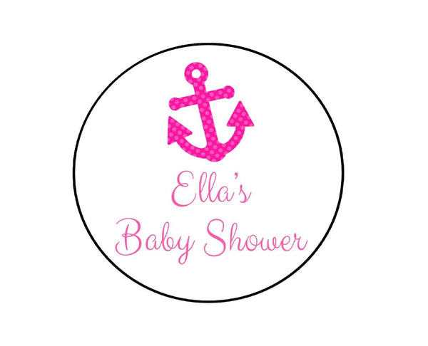 Pink Nautical Baby Shower Labels-Stickers