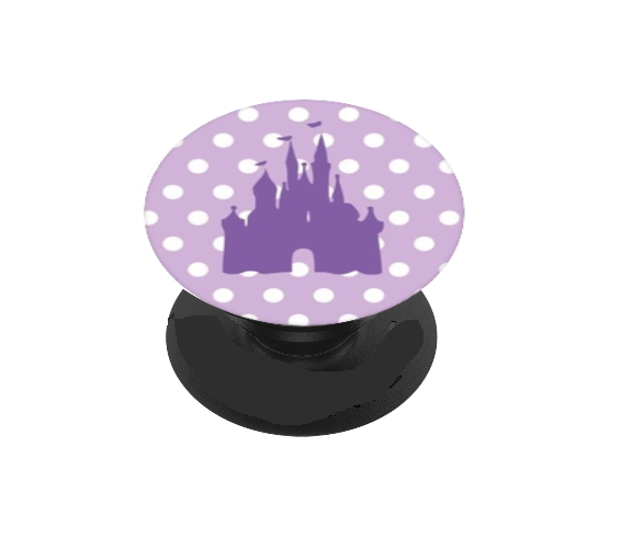 Purple Polka Dot Castle Vinyl Decal For Phone Grip