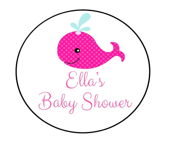 Pink Whale Baby Shower Labels-Stickers
