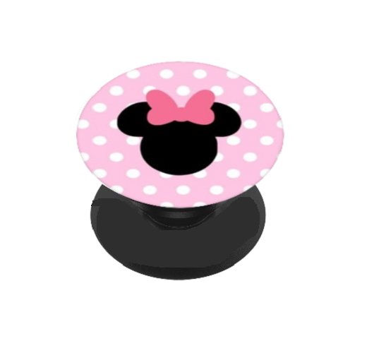 Pink Polka Dot Girl Icon Head Vinyl Decal For Phone Grip