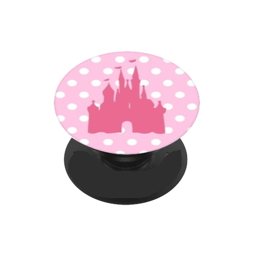 Pink Polka Dot Castle Vinyl Decal For Phone Grip