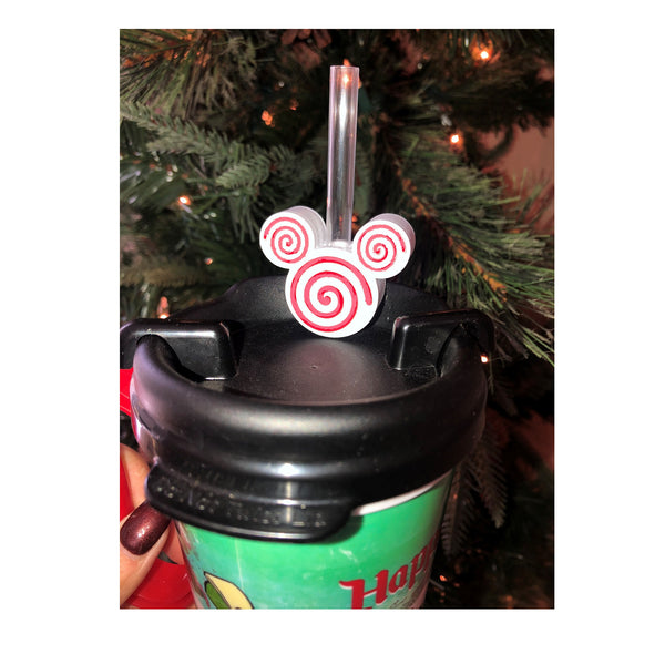 Peppermint Swirls Mouse Head Straw Topper