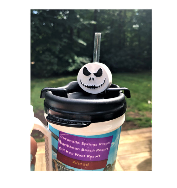Skeleton Face Straw Topper