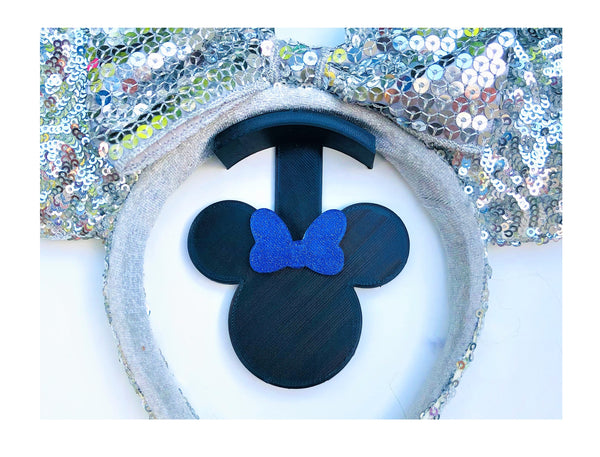 Mouse Head Blue Glitter Bow Wall Mount