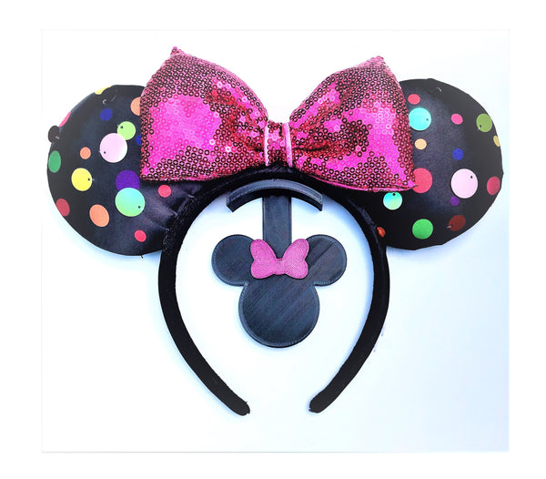Mouse Head Glitter Pink Bow Wall Mount