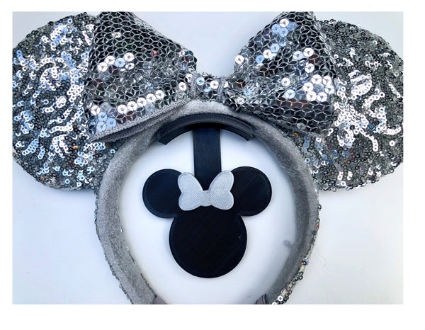 Mouse Head Light Silver Glitter Bow Wall Mount