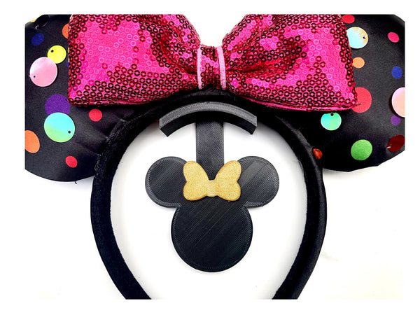 Mouse Head Gold Glitter Bow Wall Mount