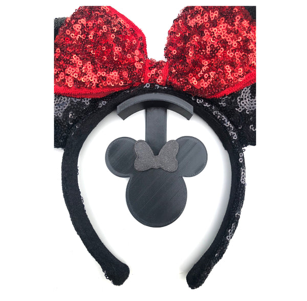 Mouse Head Black Glitter Bow Wall Mount