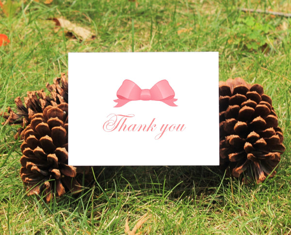 Bow Thank You Cards - Choice of Color Bow