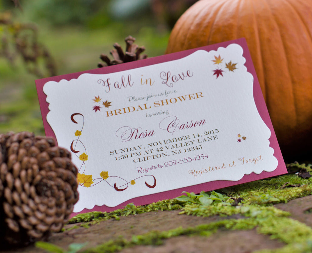 Fall Leaves Layered Bridal Shower Invitation