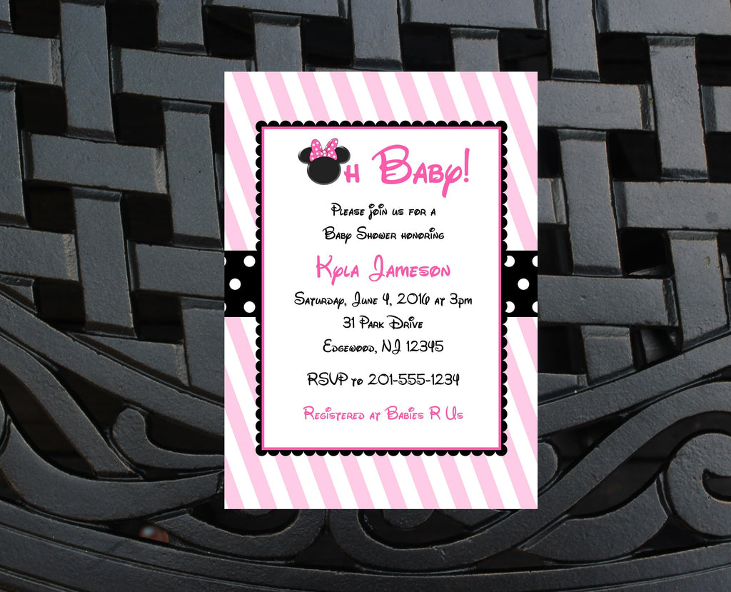 Minnie Mouse Baby Shower Invitation JPEG DIY