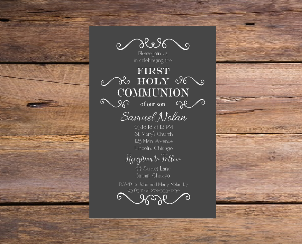 Gray and White Communion or Baptism Invitation for Boy or Girl