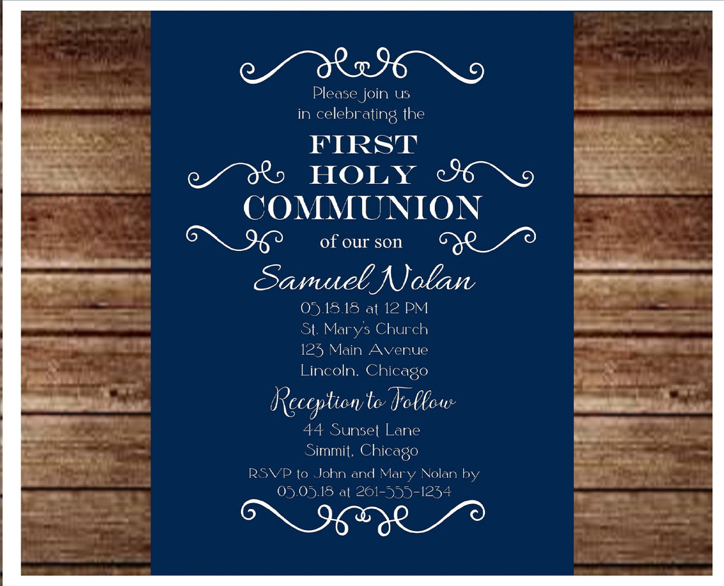 Boys Flourish Communion or Baptism Invitation