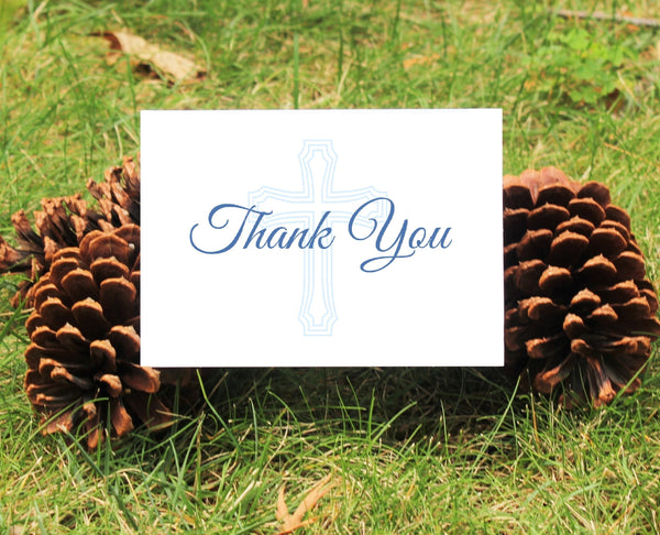 Blue Cross Thank You Card - For Boy