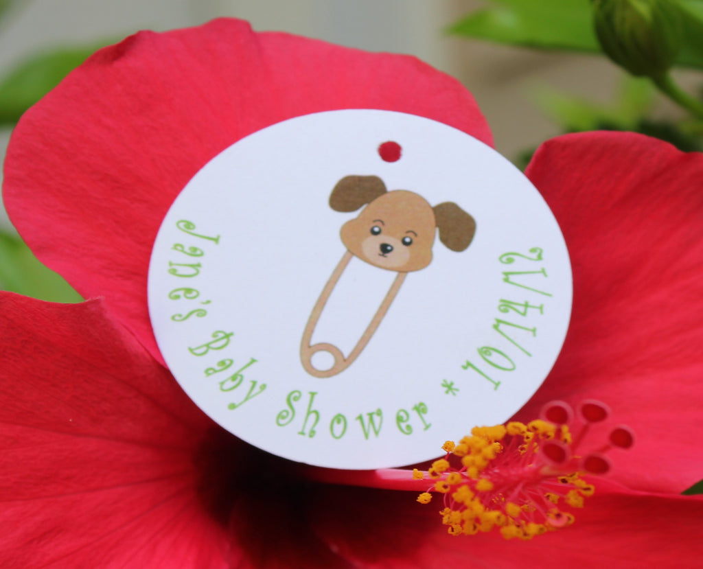Puppy Dog Diaper Pin Favor Tags