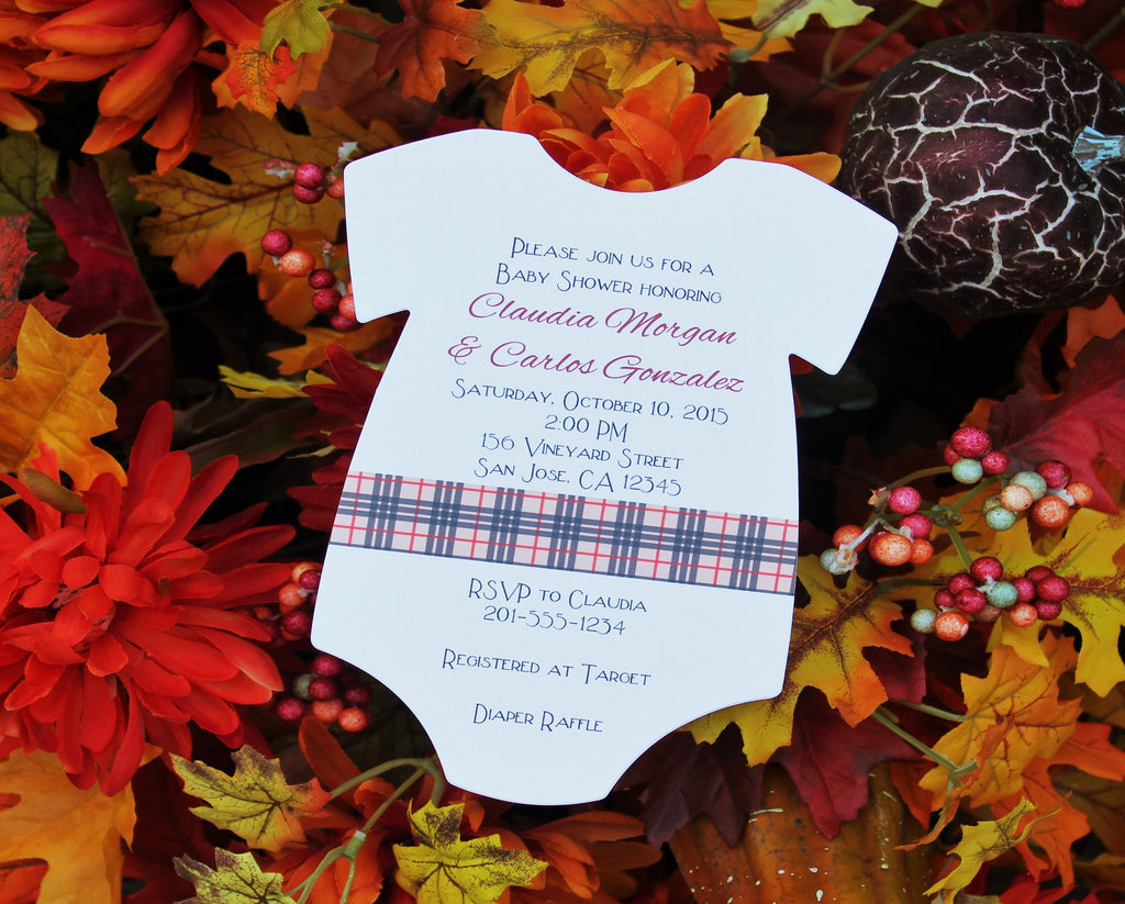 Designer Plaid Baby Shower Invitation