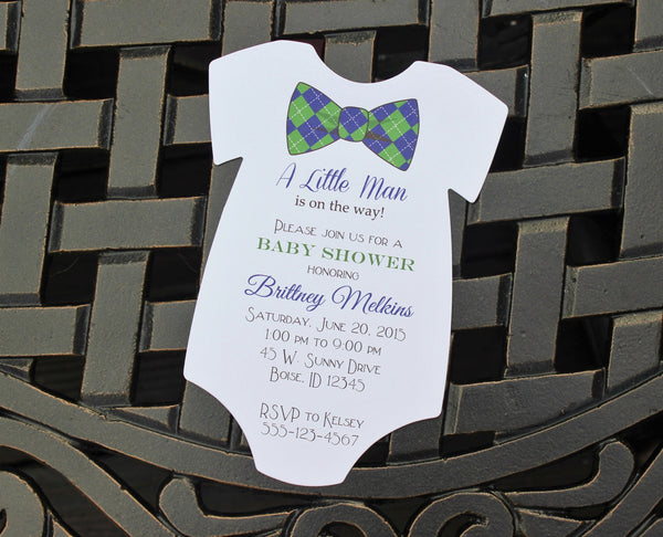 Fun Bow Tie Baby Shower Invitation