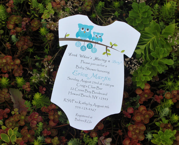 Blue Owls Baby Shower Invitation