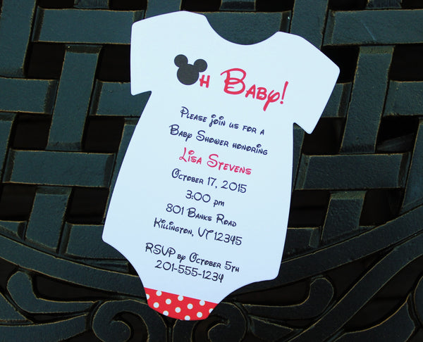 Boy Mouse Onesie Baby Shower Invitation