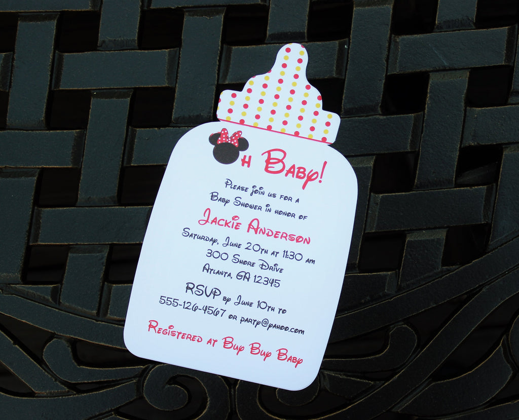 Girl Mouse Bottle Baby Shower Invitation